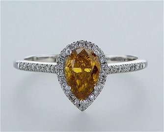 FANCY INTENSE ORANGY YELLOW - 14 kt. White gold - Ring