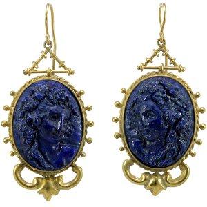 Victorian lapis lazuli cameos 14K gold earrings.