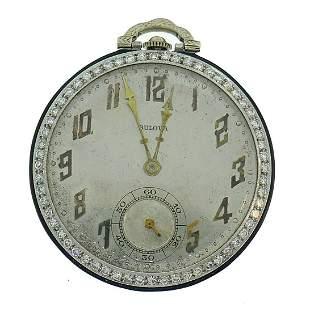Art Deco BULOVA Platinum Diamond WATCH PENDANT