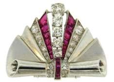 Van Cleef & Arpels Platinum CLIP Pin Brooch Diamond