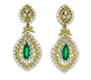 DAVID WEBB Emerald Diamond Gold EARRINGS Day and Night