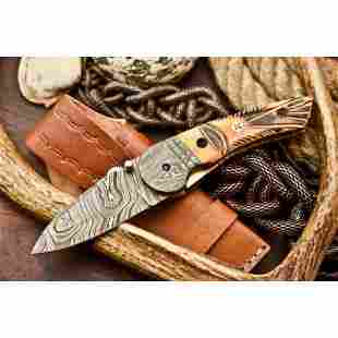 Folding pocket camping work damascus knife steel bone