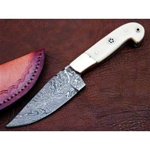 Damascus steel knife hiking everyday carry bone leather