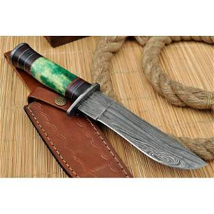 Bowie hunting hiking damascus steel knife bone camping