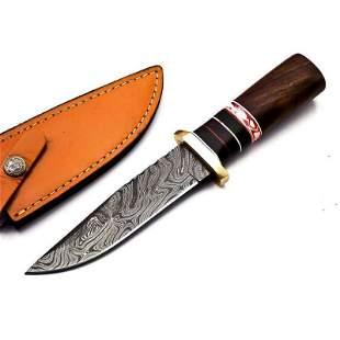 Skinner damascus steel knife hunting walnut wood brass