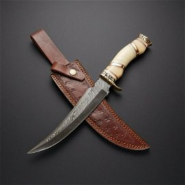 Hunting everyday carry work damascus steel knife camel