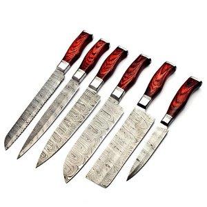 Set of 6 kitchen butcher chef damascus steel knife wood