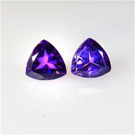 3.83 Ctw Natural Purple Amethyst Trillion Pair