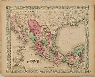1865 Johnson Map of Mexico -- Johnson's Mexico