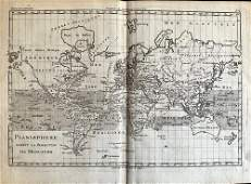 World map On Mercator projection, 1780 by Bonne/ Raynal