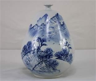 Signed Blue and White Pear shaped Japanese Studio Art