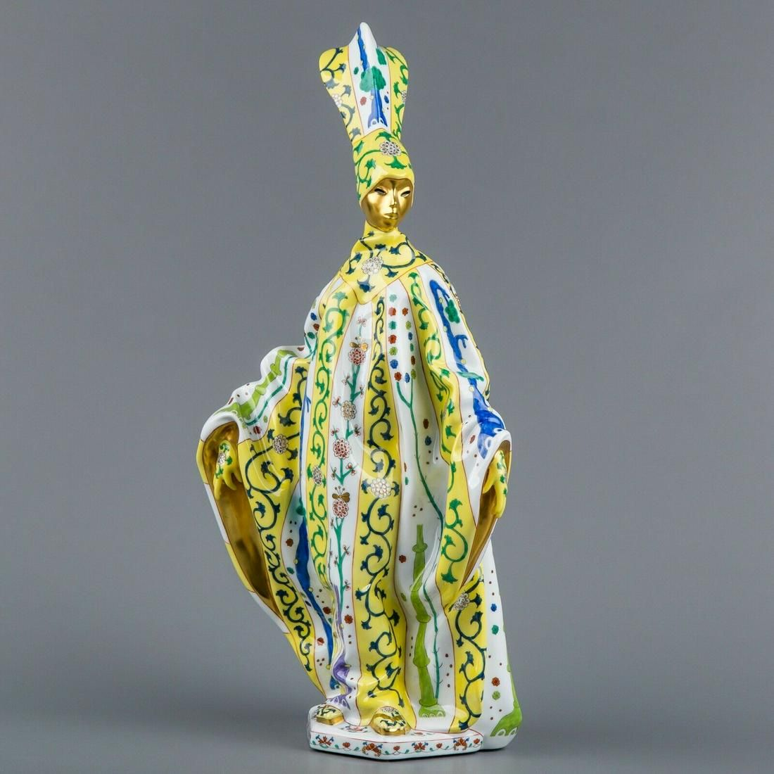 Herend Siang Jaune Pattern Carnival Woman Figurine,