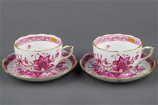 Pair of Herend Indian Basket Raspberry Tea Cups with