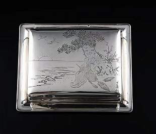 Japanese hand-carved 950 sterling silver cigar box in
