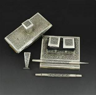 Southeast Asia carved sterling silver study suite