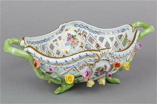 Herend Bouquet de Saxe Large Reticulated Basket with