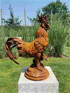 Large Cast iron rooster - Garden statue - Cast iron
