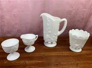 Westmoreland Milk Glass Planter Pot, Creamer and Sugar