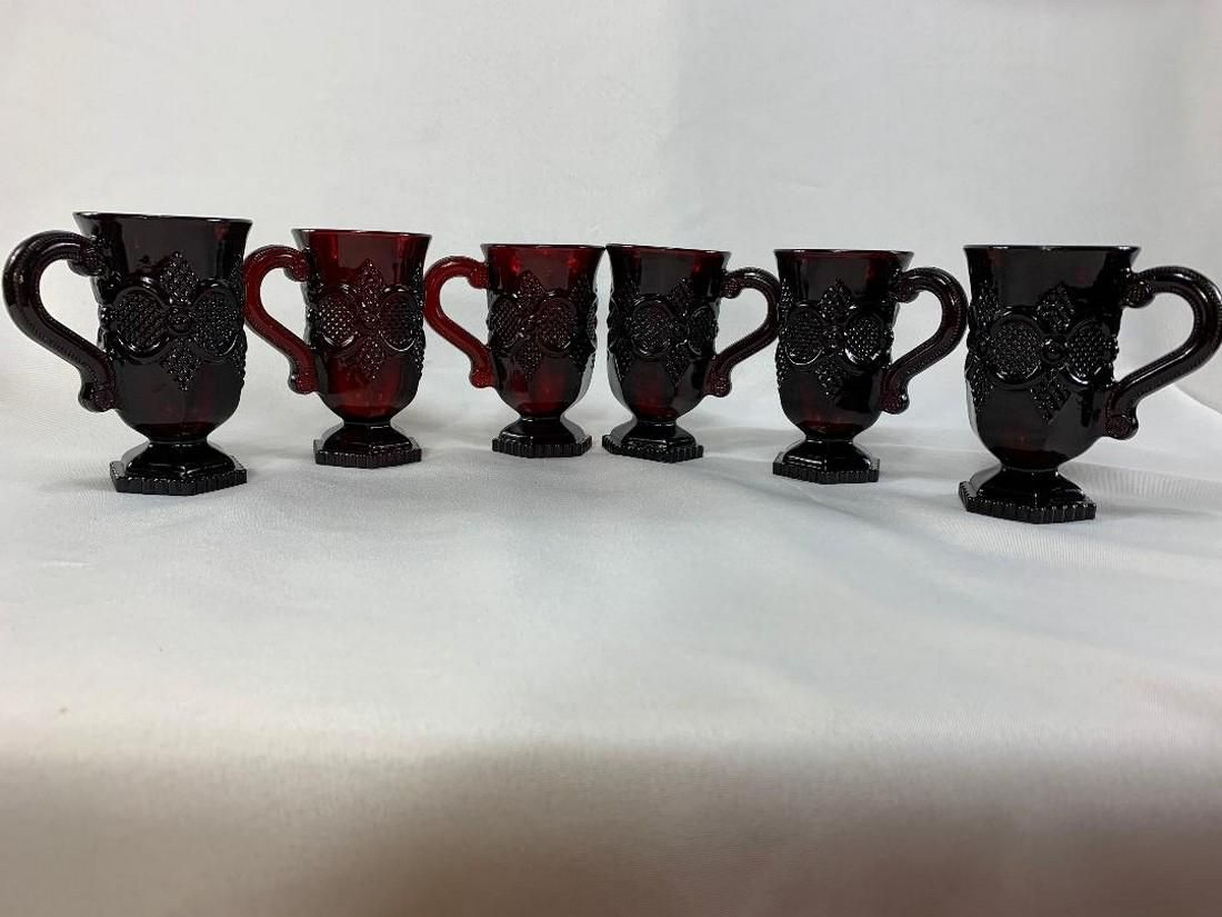 Lot of 9 Cape Cod Ruby Red Footed Glasses