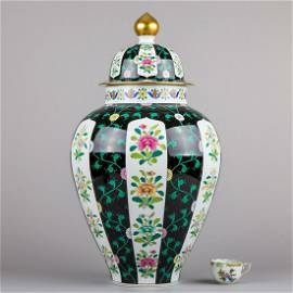Herend Siang Noir Black Dynasty Huge Lidded Urn Vase in