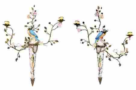 Porcelain wall sconces - A couple of Parrots - Regency