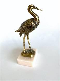 Beautiful Vintage Bronze Statue shaped like a Crane