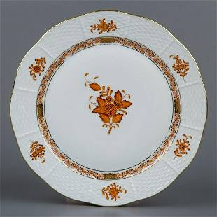 Herend Chinese Bouquet Rust Orange Dinner Plate #524/AM