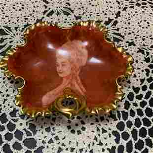 Porcelain Ochre colored Candy Dish