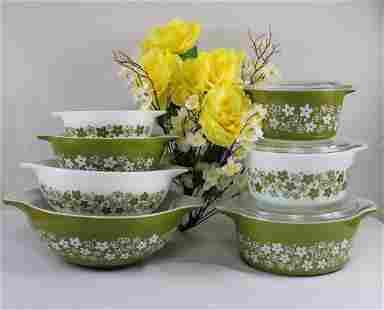 "Pyrex Green ""Spring Blossom"" Pattern Bowl & Dish Set"