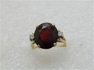 Vintage 14kt Garnet & Moissanite Ring, F&F Felger's,