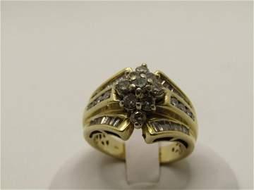 Vintage 14kt Diamond Cluster Ring, Signed JWBR, Sz.