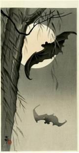 Ohara KOSON (1877-1945), Bats against Full Moon
