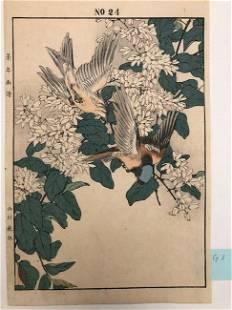 Imao Keinen, Two birds land on white flower tree