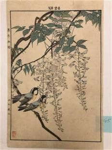 Imao Keinen, Two blue birds rest on wisteria tree