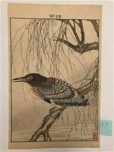 Imao Keinen, Blue/light pink bird rest on tree