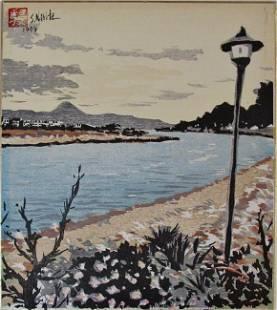 Shintarô Narita: River with Fuji in the Distance