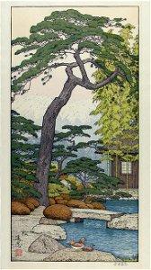 Toshi YOSHIDA (1911-95), Garden with pond, pine tree