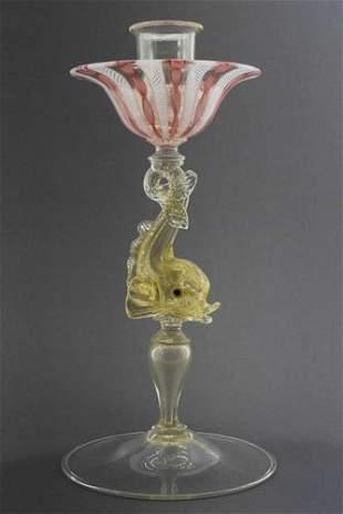 Marino Santi - Murano glass Candle holder with fine