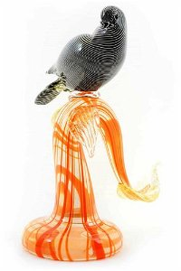 """Murano glass Sculpture """" Dove on the branch """" signed"""