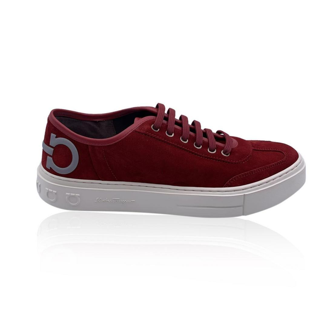 Salvatore Ferragamo Red Suede Truman Men Sneaker 10M US