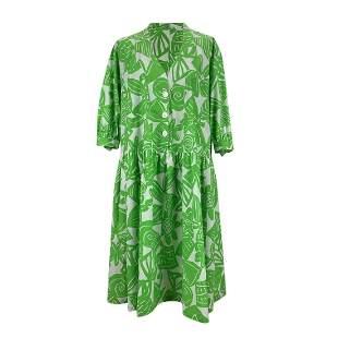 Maska Vintage Green Printed Cotton Shift Smock Dress