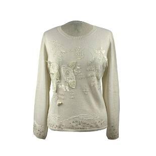 Donnamia Vintage Ivory Silk Cashmere Embellished