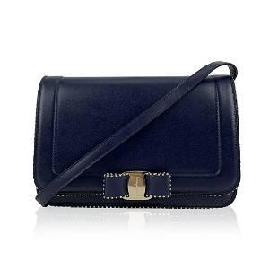 Salvatore Ferragamo Blue Leather Vara RW Bow Flap Mint