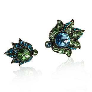 Lanvin Gold Tone Brass Crystals Green Blue Two Fingers
