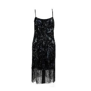 Mariselaine Vintage Black Beaded Fringed Flapper Dress