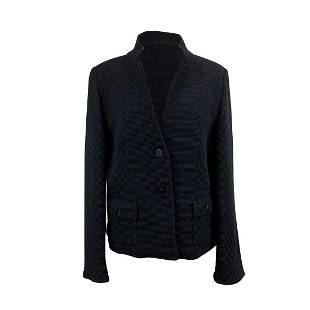 Paolo Tonali Black Virgin Wool Ribbed Jacket Size 46 IT