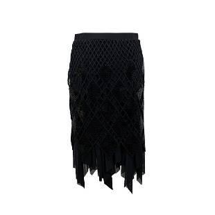 Sagaie Black Sequin Skirt with Handkerchief Hem Size 44