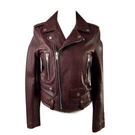 Saint Laurent Brown Leather Biker Women Jacket Size 36