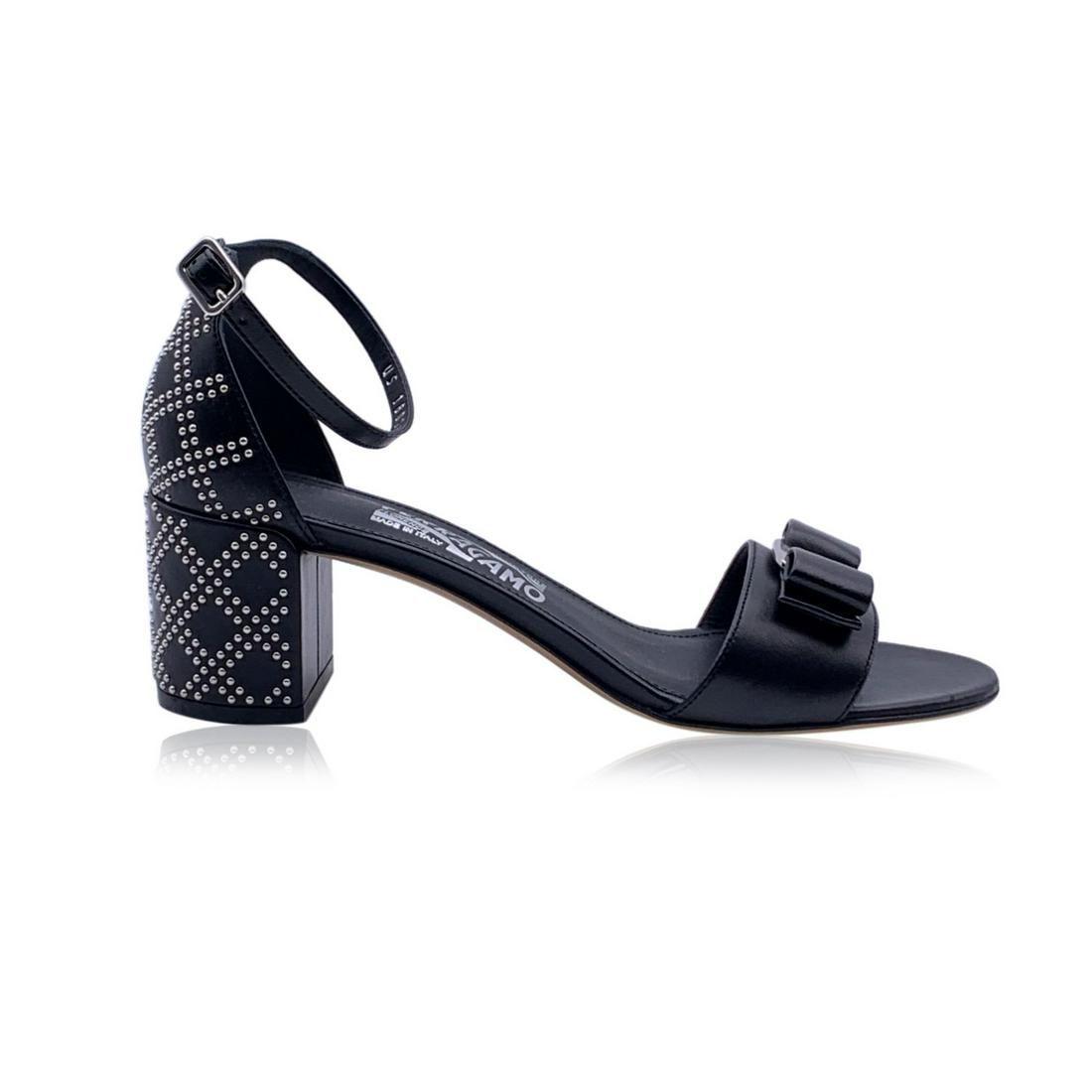 Salvatore Ferragamo Leather Gavina Qs Heeled Sandals US