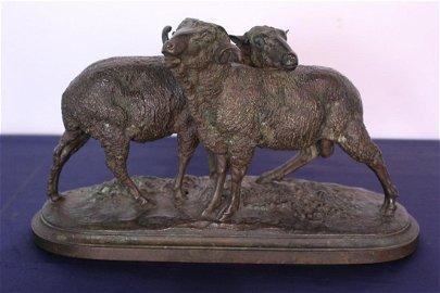 Mid 19th C. Isidore Bonheur Bronze of 2 Sheep